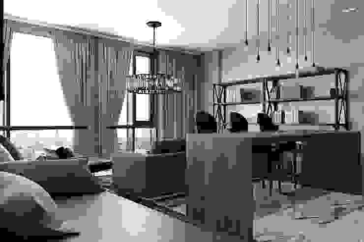 Лофт-Апартаменты в ж.к. TriBeCa Гостиная в стиле лофт от Oh, Boy! Интерьеры с мужским характером Лофт