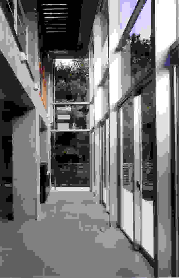 アトリウムから遊歩道を見る モダンデザインの 多目的室 の 豊田空間デザイン室 一級建築士事務所 モダン