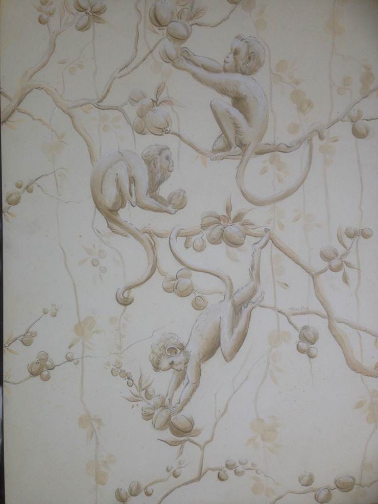 Half Drop Pattern Wallpaper- Grisaille Monkeys Eades Bespoke ArtworkOther artistic objects
