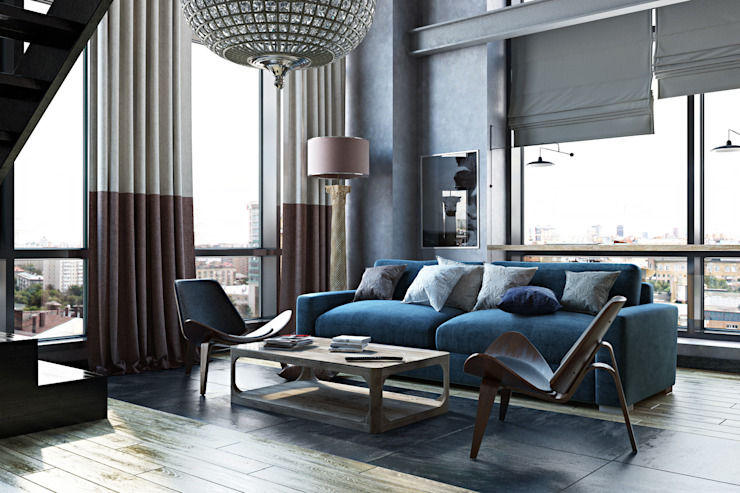 Industrial style living room by Oh, Boy! Интерьеры с мужским характером Industrial