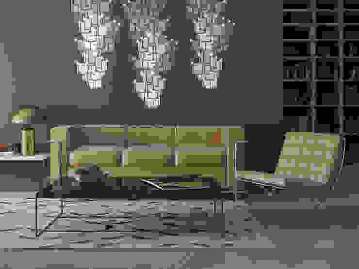 Lattice System LED Wallpaper Chandelier - Roomset Meystyle Moderne Wohnzimmer