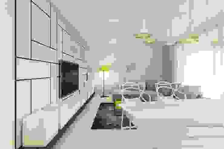 Warszawa Wilanów – mieszkanie 85 m kw. Nowoczesny salon od Casa Marvell Nowoczesny