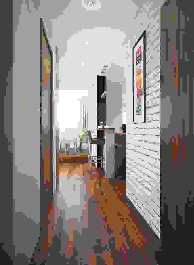 Дизайн-проект квартиры в стиле лофт. Коридор, прихожая и лестница в стиле лофт от Александра Петропавловская Лофт