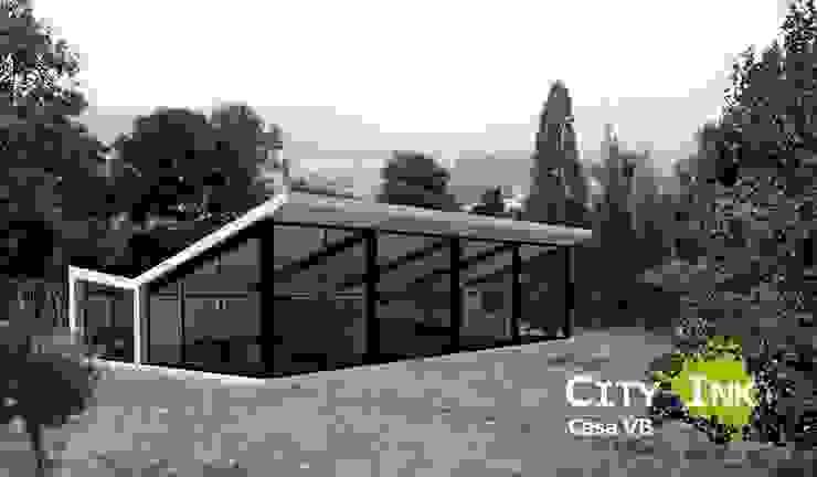 Vista de la cabaña dese el bosque. de City Ink Design Moderno