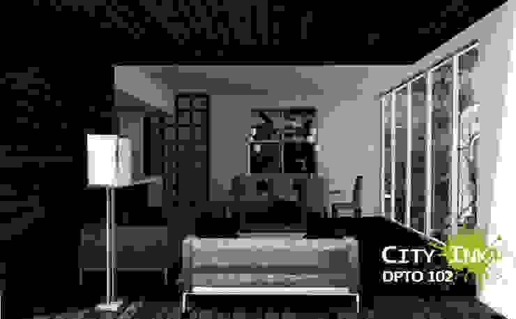 Vista comedor y estancia. de City Ink Design Moderno
