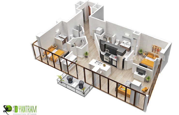 Residential 3D Floor Plan の Yantram Architectural Design Studio