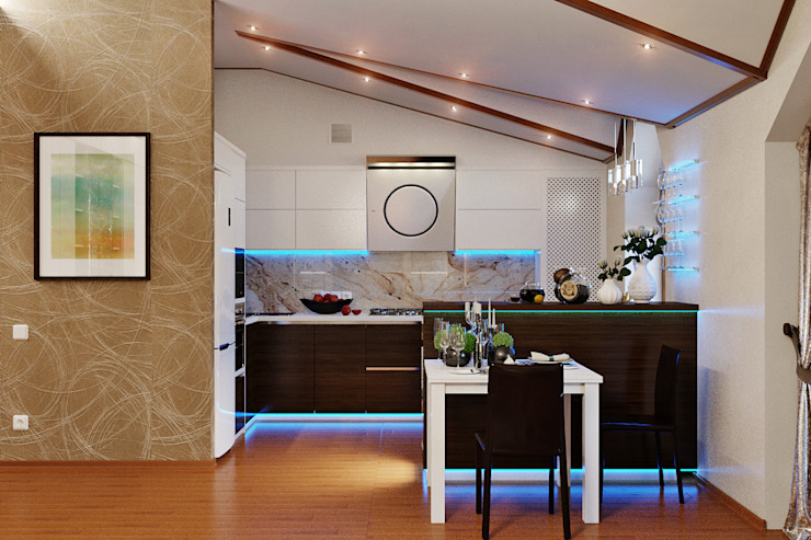 Как оформить интерьер кухни на мансарде Балкон и терраса в стиле модерн от Студия дизайна Interior Design IDEAS Модерн