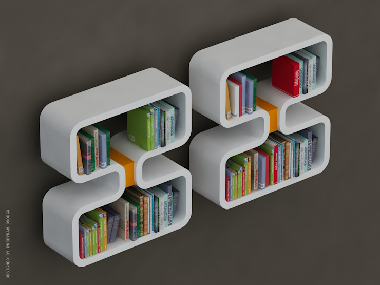 Book shelves -Double 8: modern  by Preetham  Interior Designer,Modern