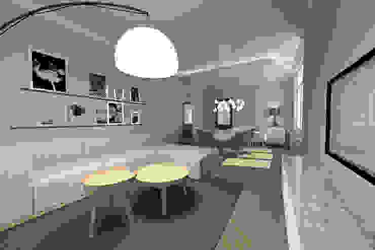 Aménagement d'un rez-de-chaussée d'une maison individuelle Salon moderne par L&D Intérieur Moderne