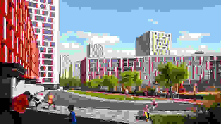 Визуализация концепции жилой и общественной застройки Рижского грузового двора. Дома в стиле модерн от Аrchirost Модерн