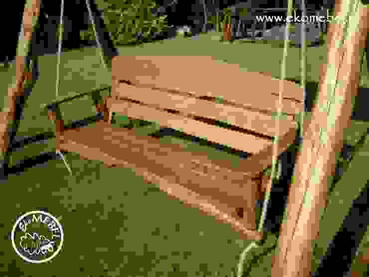 EKOMEBEL ławka w huśtawce 3-osobowej od Ekomebel - dębowe meble ogrodowe Rustykalny