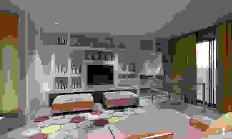 Vista zona TV Soggiorno moderno di Bianca Coggi Architetto Moderno