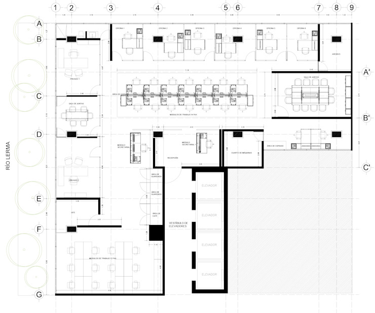 Planta Arquitectónica de DF ARQUITECTOS Moderno