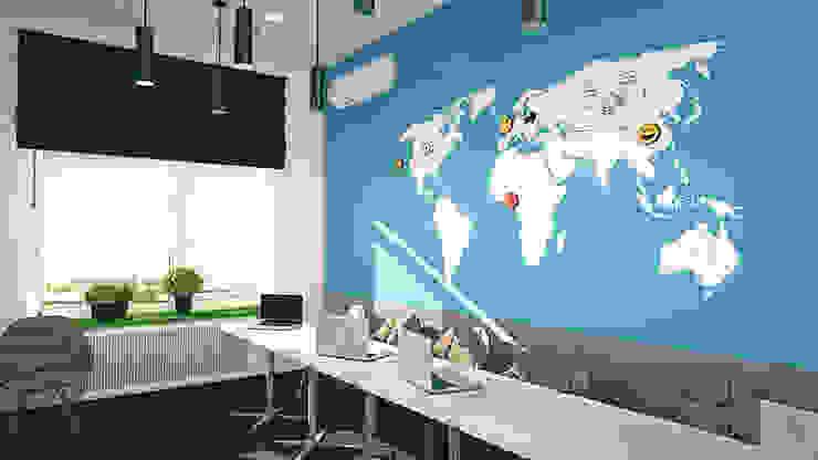 Магнитно-макерная карта в переговорной компании iFunny Офисы и магазины в стиле минимализм от IdeasMarket Минимализм