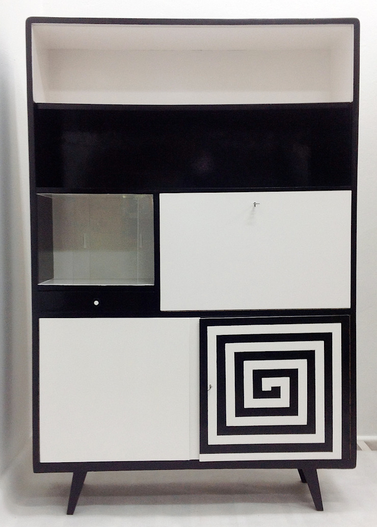 Kredens Black and White od Lata 60-te Nowoczesny