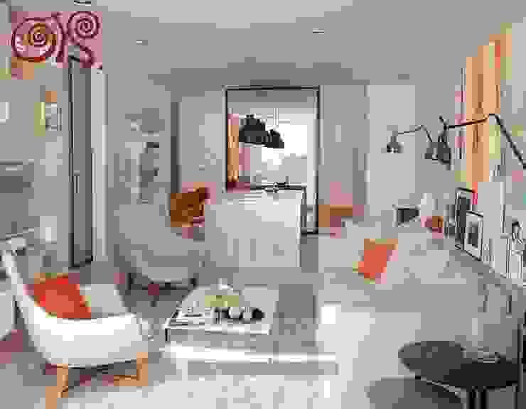 В первом варианте интерьера гостиной с элементами стиля 60-х используются яркие оранжевые акценты Гостиная в классическом стиле от Olga's Studio Классический