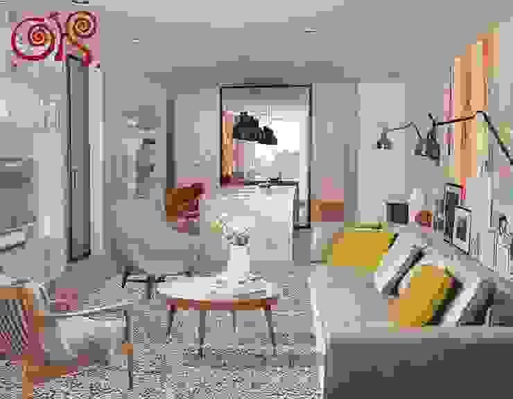 Второй вариант интерьера гостиной-столовой Гостиная в классическом стиле от Olga's Studio Классический