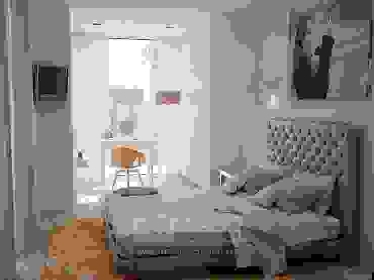 В интерьере спальни пространство присоединенной лоджии задействовано под мини-гардеробную со светлым шкафом и туалетным столиком: Спальни в . Автор – Olga's Studio, Классический