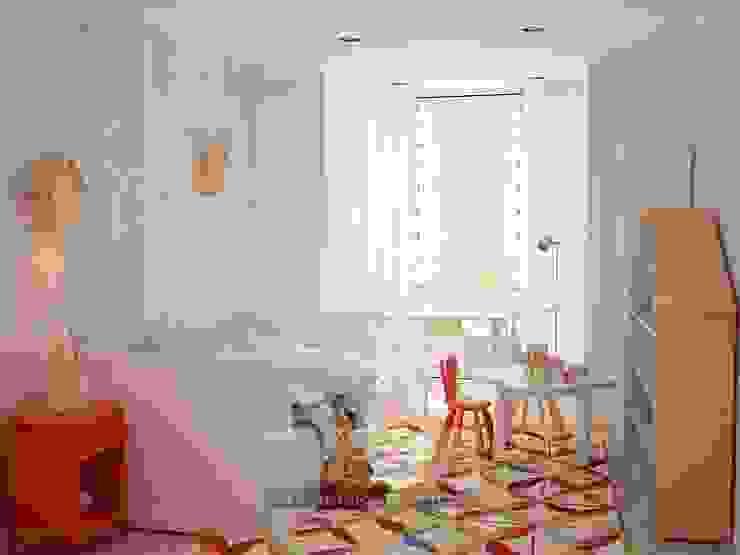 В дизайне светлой детской комнаты используются яркие цветовые акценты Детская комнатa в классическом стиле от Olga's Studio Классический