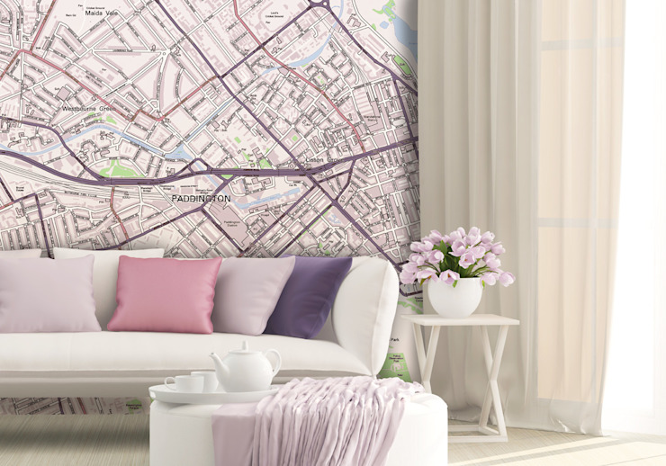 Custom Street Map Wallpaper od Love Maps On Ltd. Nowoczesny