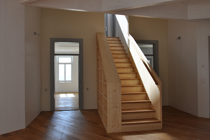 Rustic style corridor, hallway & stairs by mmarch gmbh - Mader Marti Architektur ETH SIA Rustic