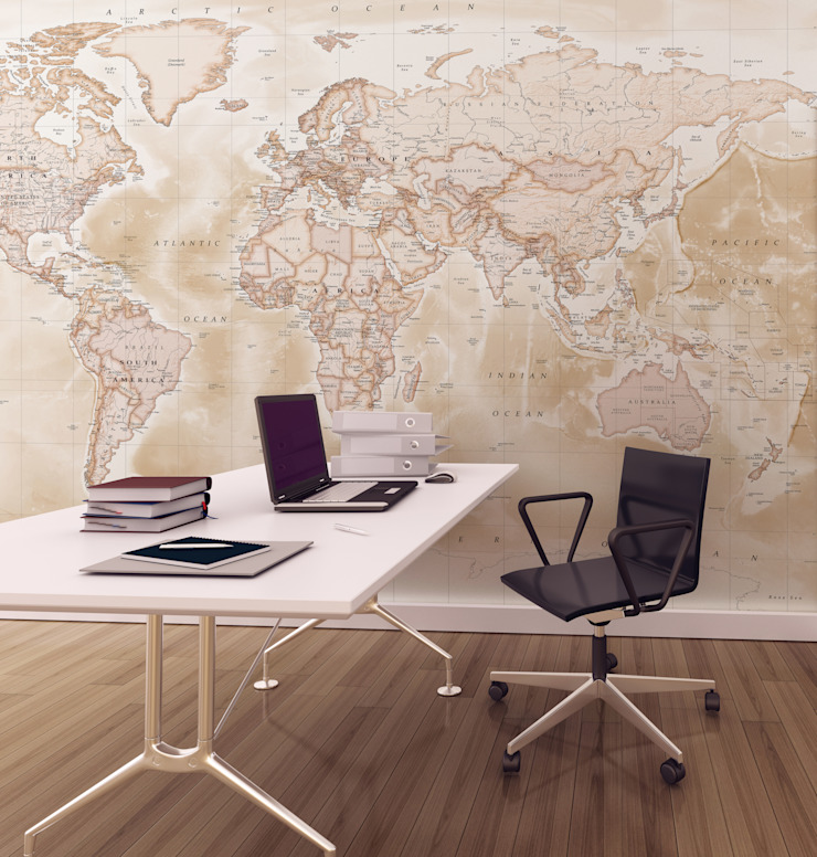 World Map Wallpaper Love Maps On Ltd. ห้องอ่านหนังสือและห้องทำงานของตกแต่งและอุปกรณ์จิปาถะ