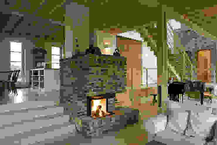 Haus am Schwielowsee Wohnzimmer im Landhausstil von wolff:architekten Landhaus