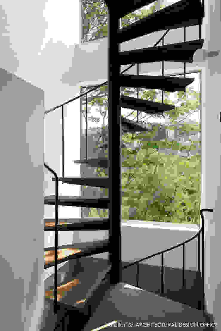 階段 モダンスタイルの 玄関&廊下&階段 の atelier137 ARCHITECTURAL DESIGN OFFICE モダン 鉄/鋼