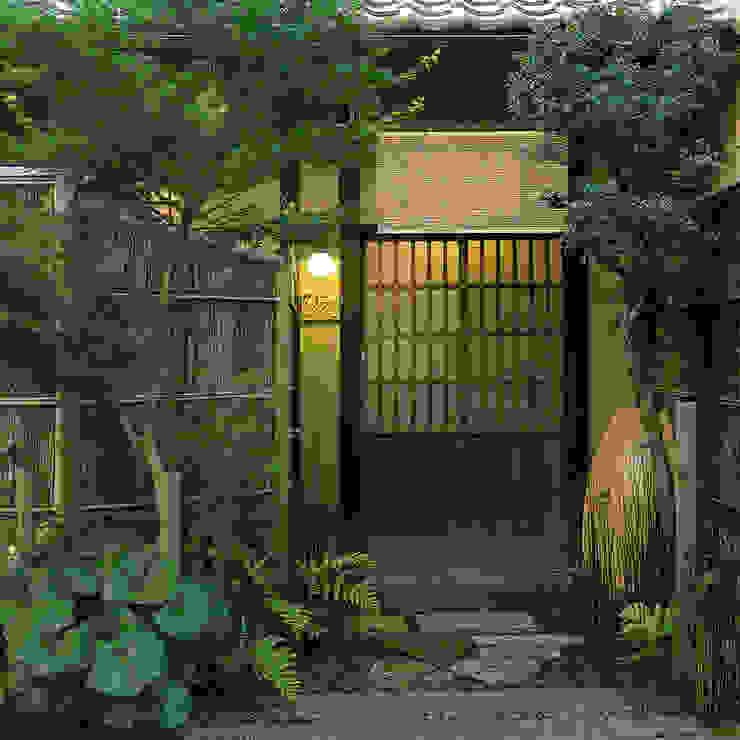 玄関ファサード の 一級建築士事務所 ネストデザイン 和風 木 木目調