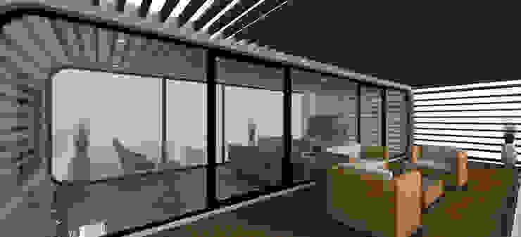coodo 64 mit Pergola Moderner Balkon, Veranda & Terrasse von LTG Lofts to go - coodo Modern