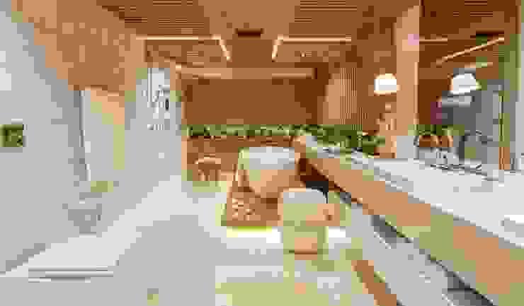 Sala de Banho do casal - Casacor Goiás 2014 Locais de eventos modernos por Camila Braga Arquitetura Moderno