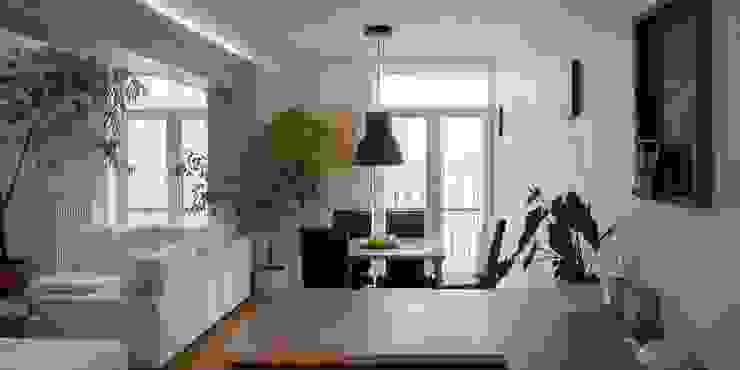 Трехуровневая квартира Гостиная в стиле минимализм от Despace Минимализм