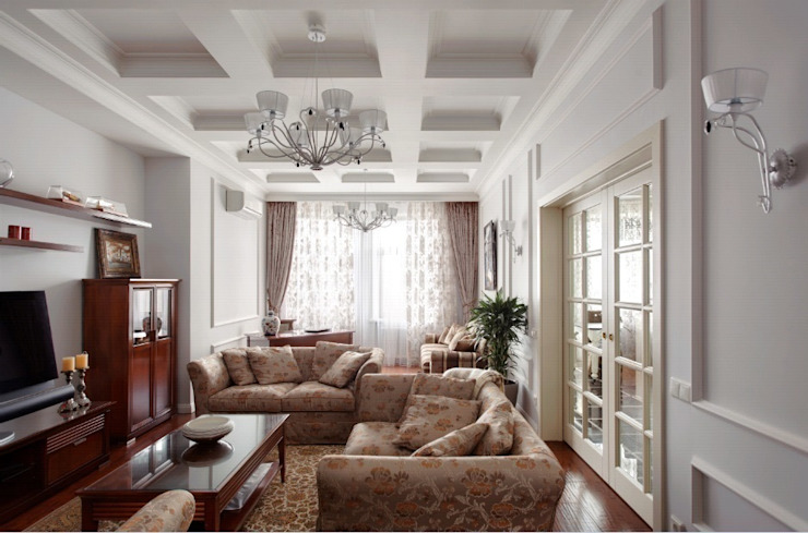 ЖК <q>Белый лебедь</q> Гостиная в классическом стиле от White & Black Design Studio Классический