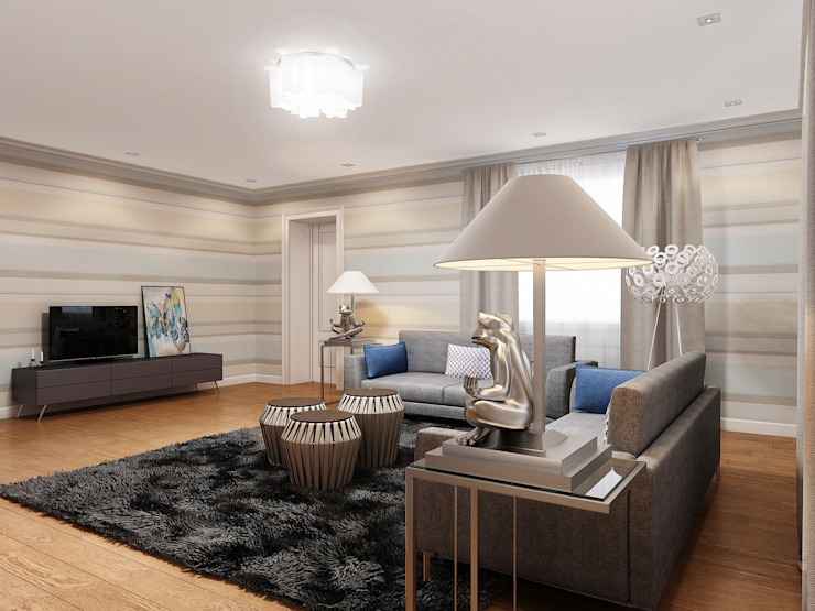 Дизайн загородного дома Гостиная в стиле модерн от White & Black Design Studio Модерн