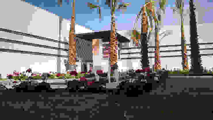 Vista desde fuente Jardines modernos de Acrópolis Arquitectura Moderno
