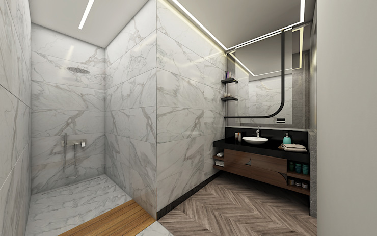 Phòng tắm phong cách tối giản bởi Voltaj Tasarım Tối giản
