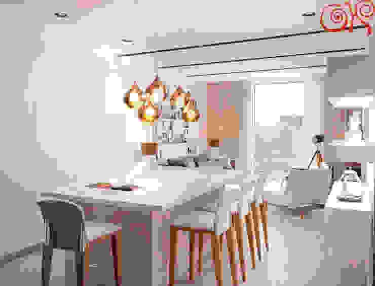 Кухонный остров заменяет обеденный стол Столовая комната в классическом стиле от Дизайн студия Ольги Кондратовой Классический