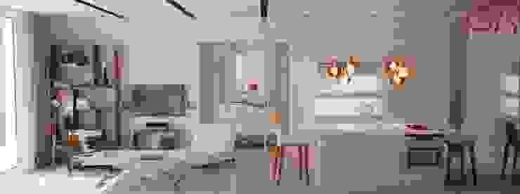 Прозрачная раздвижная перегородка отделяет спальню от кухни-гостиной Гостиная в классическом стиле от Дизайн студия Ольги Кондратовой Классический