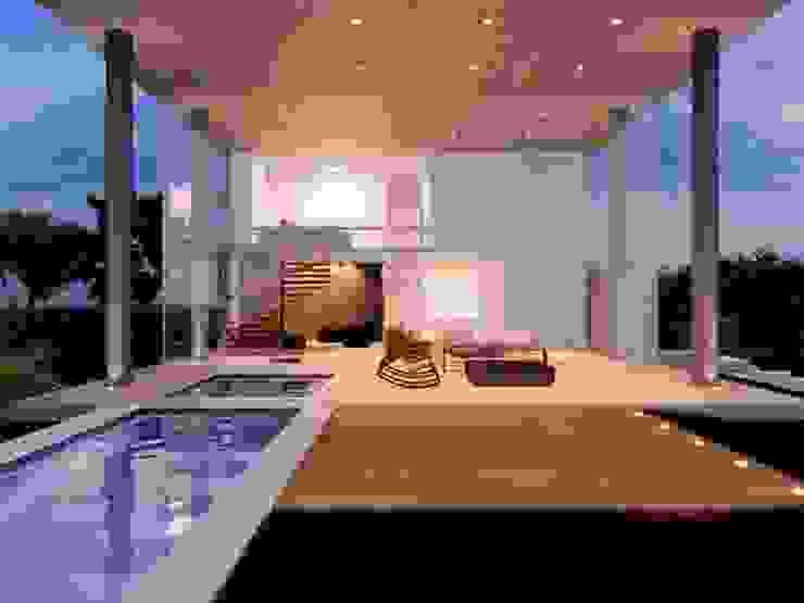 Casa EM Varandas, alpendres e terraços minimalistas por Aonze Arquitetura Minimalista Concreto