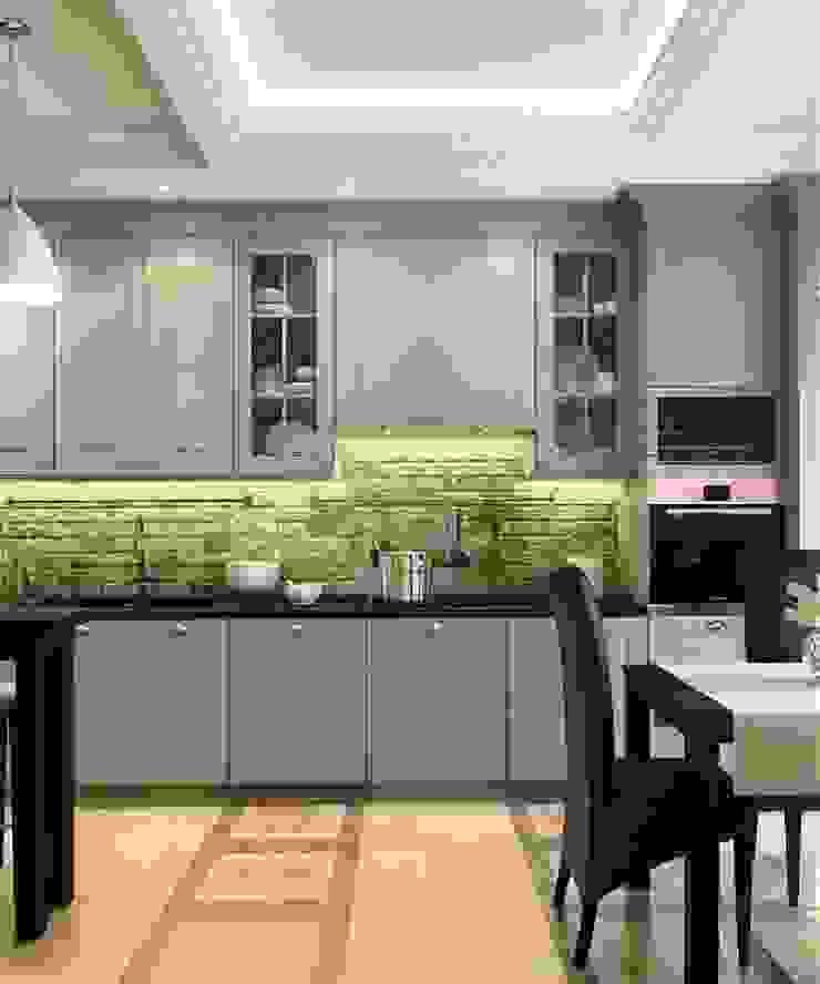 Дизайн проект 2к.кв. в смешанном Американском стиле Кухня в классическом стиле от MoRo Классический