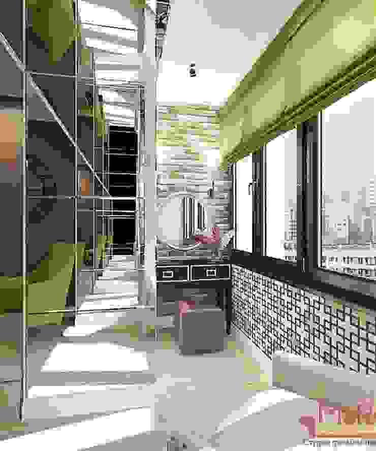Дизайн проект 2к.кв. в смешанном Американском стиле Балкон и терраса в классическом стиле от MoRo Классический