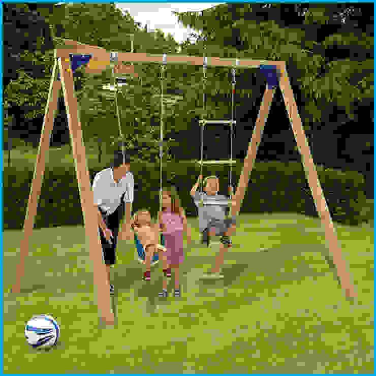 Wooden swing frame with belt seat and rope ladder Active Garden Ltd Klasik Bahçe