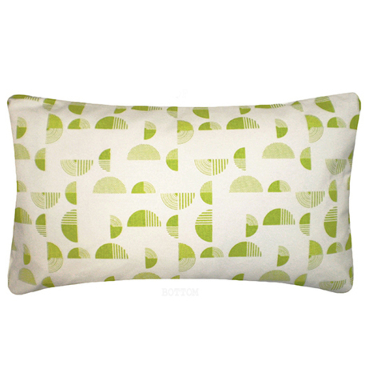 Small Arc Printed 100% Organic Cotton Cushion 30x50 cm - Lime Nitin Goyal London BedroomTextiles