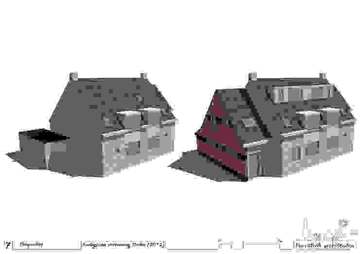 3D schets - voor en na verbouwing: modern  door NarrativA architecten, Modern