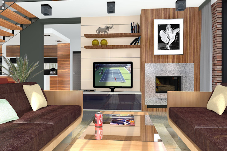 DZP-9 – dom energooszczędny i pasywny Nowoczesny salon od ABC Pracownia Projektowa Bożena Nosiła - 1 Nowoczesny