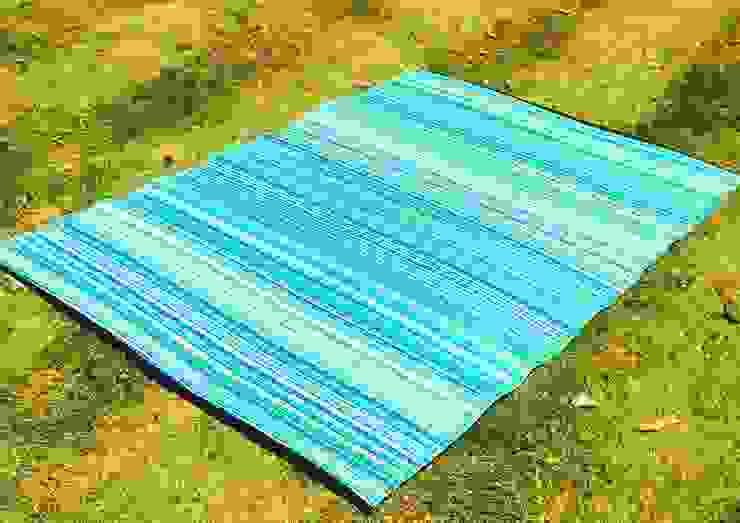 INDOOR/OUTDOOR, PLASTIC WEAVER BLUE GREEN RUG: modern  by Green Decore, Modern Plastic