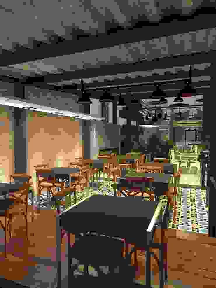 Área comensales 2:  de estilo industrial por Interiorista Teresa Avila, Industrial