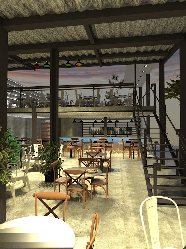 Área comensales:  de estilo industrial por Interiorista Teresa Avila, Industrial