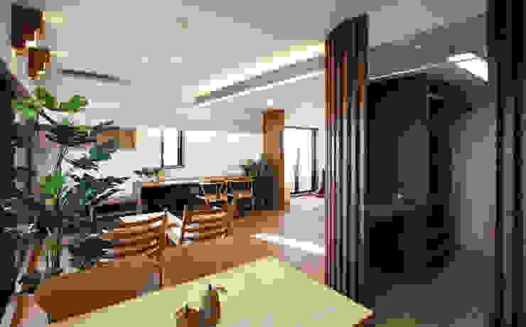 リビング・ダイニング・キッチン、そして奥に子供室 モダンデザインの リビング の 遠藤浩建築設計事務所 H,ENDOH ARCHTECT & ASSOCIATES モダン