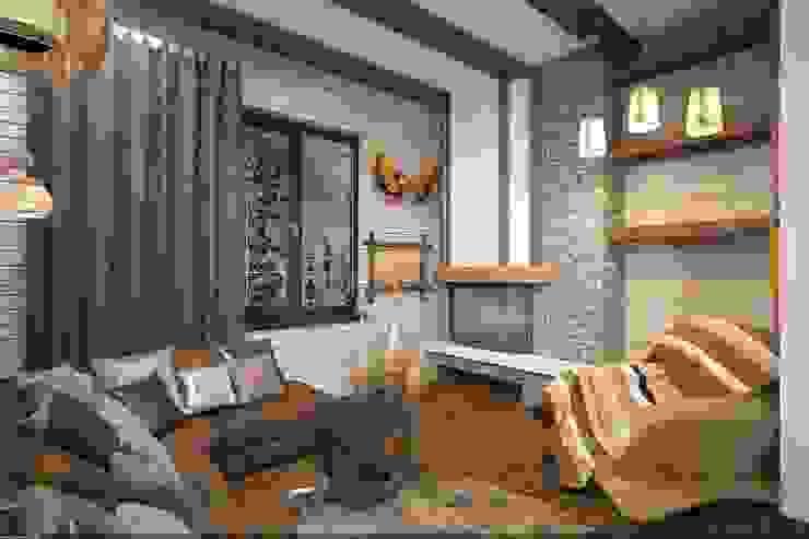 Уютная каминаая Спальня в рустикальном стиле от Veronika Brown Studio Рустикальный